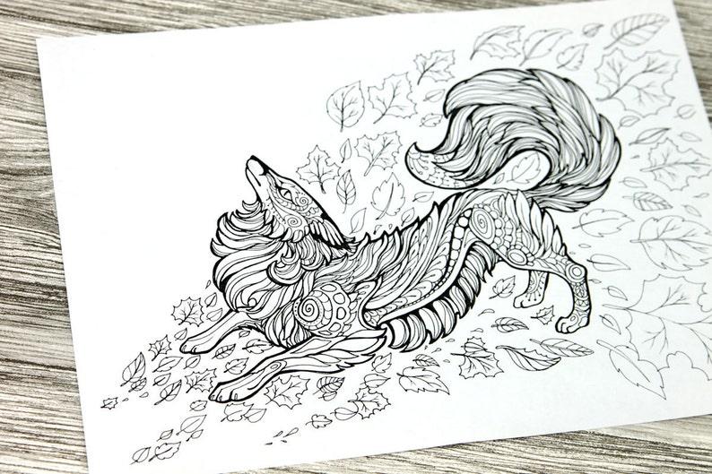 Kleurplaten Van Het Huis Anubis.Volwassen Kleurplaten Pagina Red Fox Doodle Afdrukbare Kleuren Etsy
