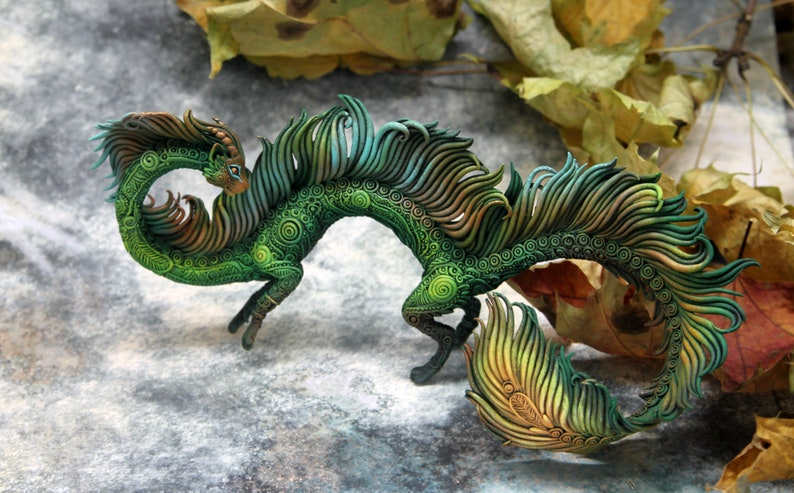 Cat Dragon Figurine Sculpture Polymer Clay Fantasy Animals image 0