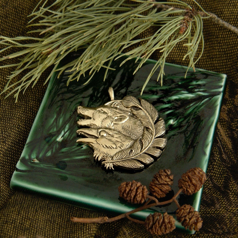 Wolf and Raven Winged Wolf bronze pendant necklace image 0