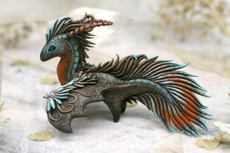 Fantasy Dragon Sculpture Fantasy Creature Figurine Dragon image 0
