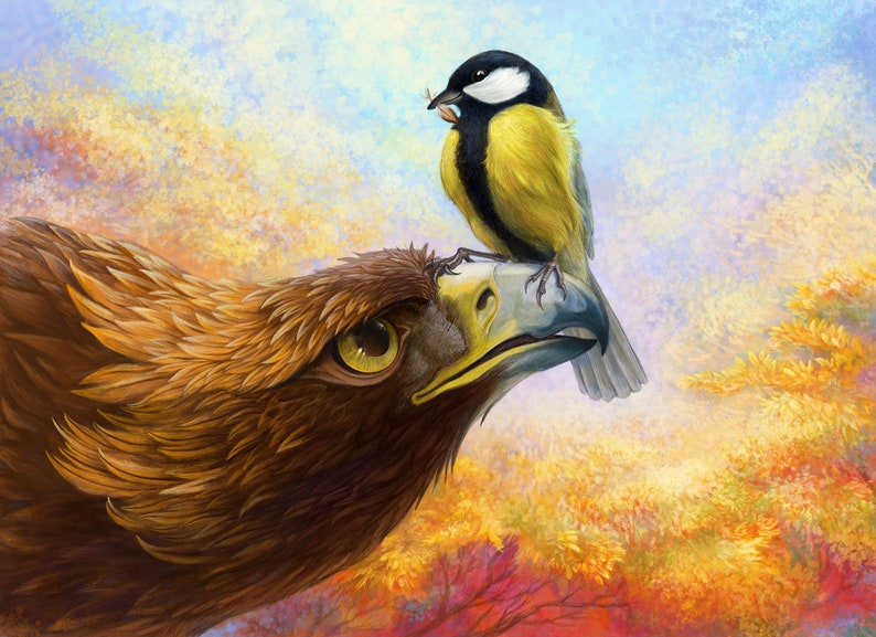 Eagle and Titmouse Art Print  When the winter is still image 0