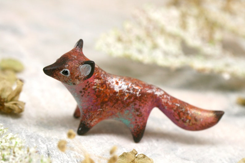 Rusty Fox Figurine Animal Sculpture Totem Shamanic Pagan image 0