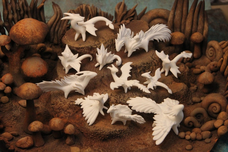 Set 11 Tiny White Dragons Sculpture Spirits Figurine Animal image 0