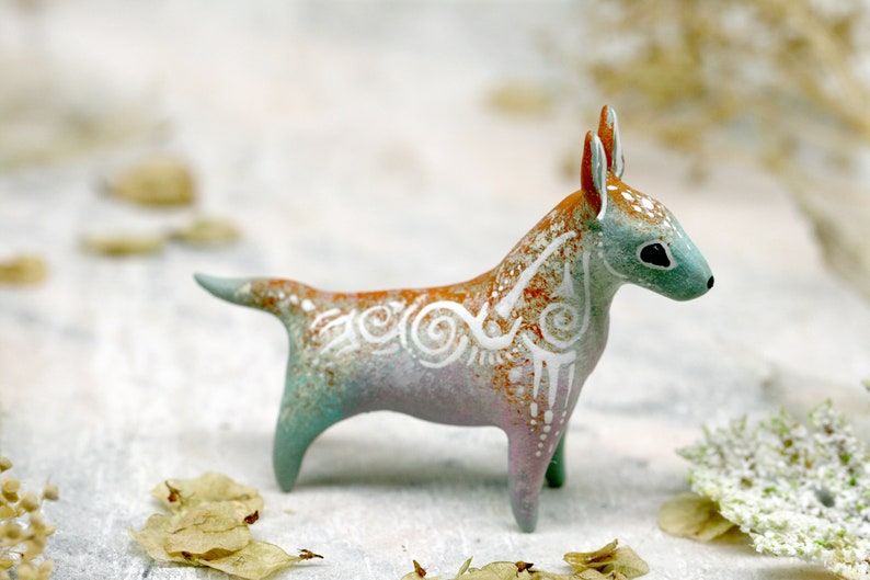 Bull Terrier Figurine Dog Animal Sculpture Totem polymer clay image 0