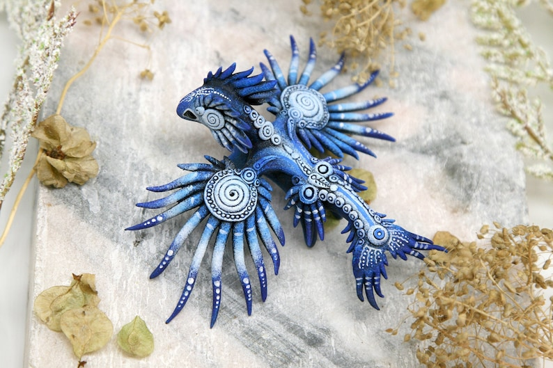 Sea Dragon Figurine Glaucus atlanticus Sculpture Blue Dragon image 0