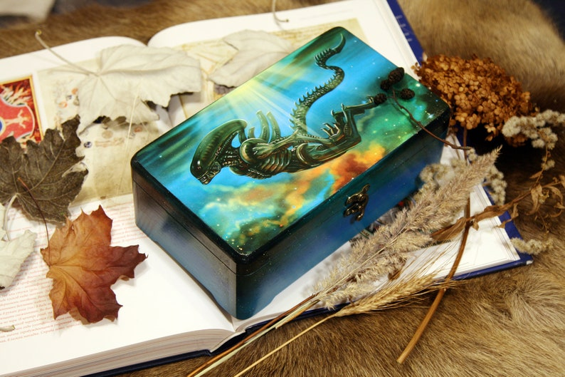 Xenomorph Big Wooden Keepsake Box For Jewelry or Tools with image 0
