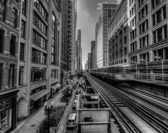 """Train's Leaving - Chicago - Elevated Train - """"L"""" - Mass Transit - CTA - Cityscaping - HDR"""