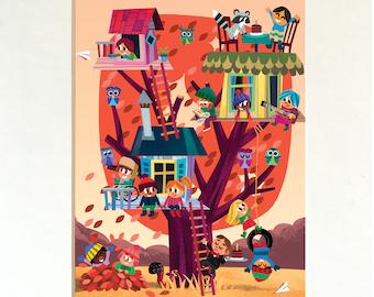 Treehouse Print / Kids Wall Art / Summer / Treehouse Art / Childhood