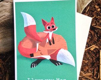 Fox Card/ Fox Mothers Day Card / I Love You Mom / Baby Fox