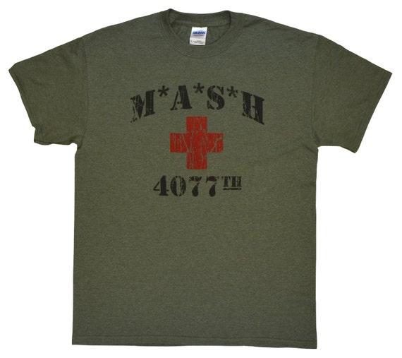 011baabd mash 4077th tv division vintage style distressed citcom heather military  army green .