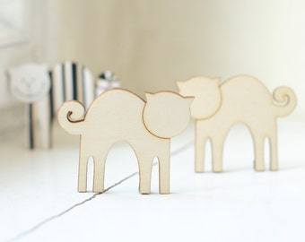 SET of 2pcs - wooden cat shapes, natural wood,  ready to decorate, unpainted, make your own, wooden supplies, jewelry supplies