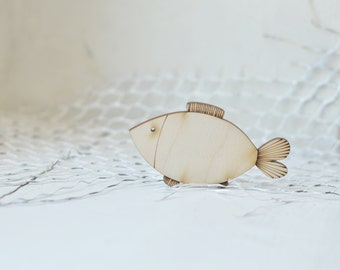 Little 8cm wooden fish shape - natural wood -  ready to decorate - unpainted - unfinished - make your own necklace DIY