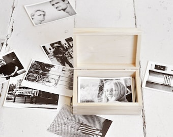 """photo box for 4""""x6"""" (10x15cm) photos,wooden, unfinished wood, natural wood, unpainted, wooden keepsake, unpainted wood,foto box, wedding box"""