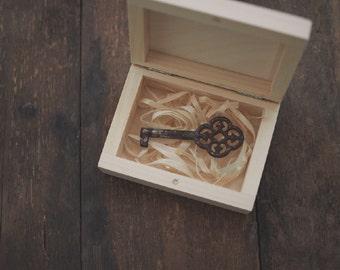 ring box - key box - wedding USB case, wedding case, wooden wedding USB case, wooden box, keepsake box, natural wood, unpainted wood