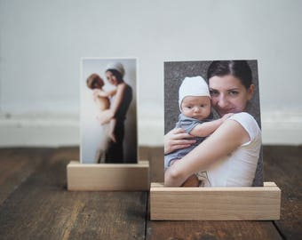 """photo holder - photo stand - wooden print display - photo display - card holder - for photographers -  13cm , 10cm or 6cm long (2,5'' 4"""" 5"""")"""