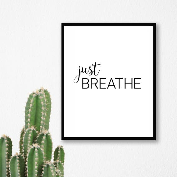 BREATHE Wall Print Gift Typography Inspirational Motivational Quote Art Marble