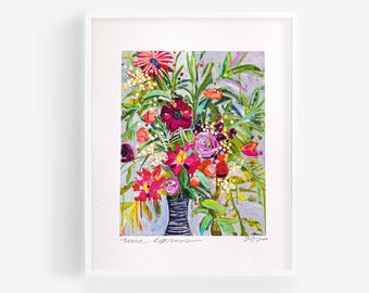 Floral Abstract Art, floral art print, abstract floral painting, colorful floral art, abstract flower painting, eclectic wall art, flowers