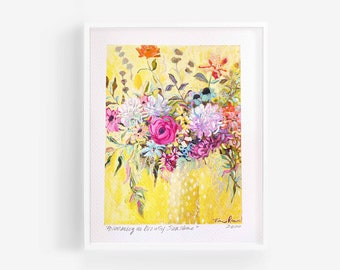 Floral Abstract Art, floral art print, abstract floral painting, colorful floral art, abstract flower painting, eclectic wall art, yellow