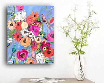Bird art, bird painting, eclectic wall art, bird wall art, birds and blooms, abstract floral art, abstract floral painting, original art