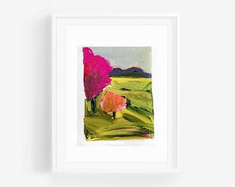 NEAR & FAR #1 Original -  Abstract Art - Landscape Art - Colorful Wall Art - Abstract Landscape Painting - Whimsical Painting-Small-Mini