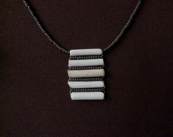 Clay Pipe Necklace – horizontal design with integrated beads (Purple-brown)