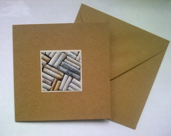 "One ""Parquet"" greeting card – FREE UK postage – created from clay pipe fragments gathered from the River Thames foreshore"