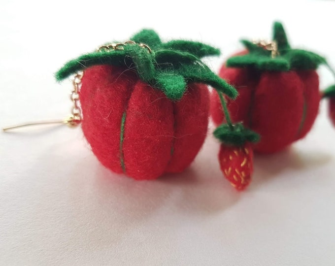 Featured listing image: Tomato Pincushion Earrings - Sewing, Sewist, Needlework, Embroidery, Vintage, Granny, Novelty, Miniature, Felt, Felties, Strawberries