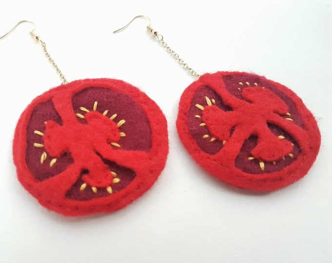 Featured listing image: Tomato Slice Earrings - Felt, Hand Sewn, Embroidered, Garden Fresh, Summer, Food, Fruit, Salad, Picnic, Bold, Red, Circles, Large, Big