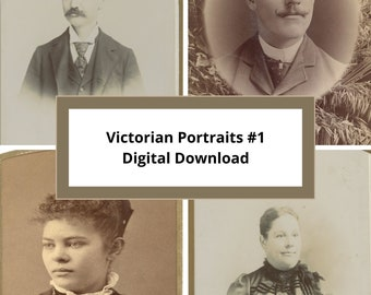 Victorian Portraits #1-Victorian Photos-Printable Ephemera-Junk Journal-Halloween Photos-Creepy Kids-Vintage Photos-Antique Pictures
