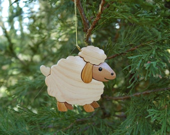 SHEEP STANDING Christmas Ornament.  Warm and woolly.