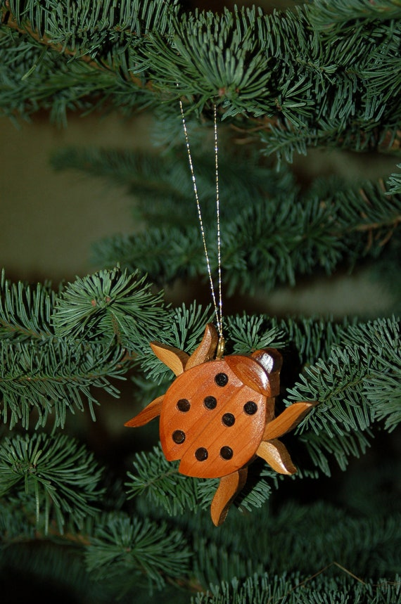 image 0 - LADYBUG CHRISTMAS ORNAMENT Wood Carving. A Charming Little Etsy