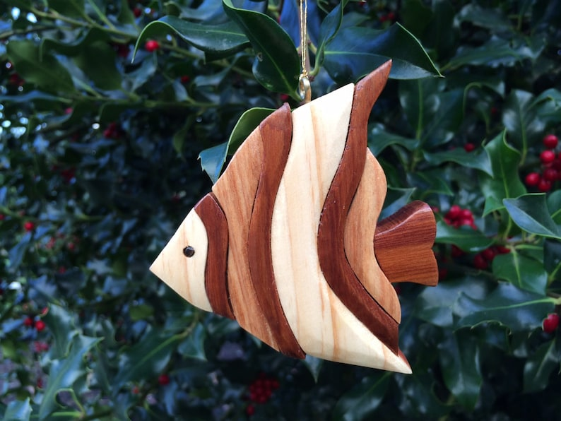 ANGEL FISH Christmas ORNAMENT Carving.  Perfect addition for image 0