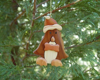 PENGUIN arms down CHRISTMAS ORNAMENT.  This penguin ornament is whimsical with lots of personality.