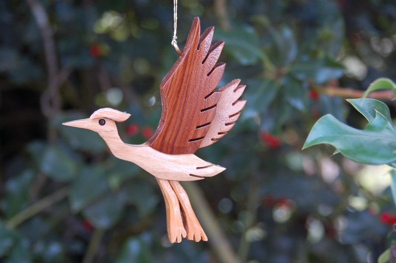 HERON CHRISTMAS ORNAMENT Carving.  A miniature work of art image 0