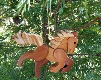 HORSE PRANCING ORNAMENT Wood  Carving.  Great Christmas gift for the one who loves horses.