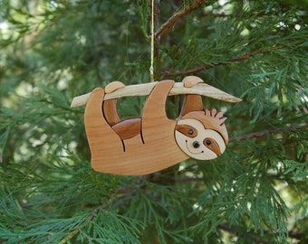 SLOTH Christmas Ornament.  New design.  So cute hanging on your tree!