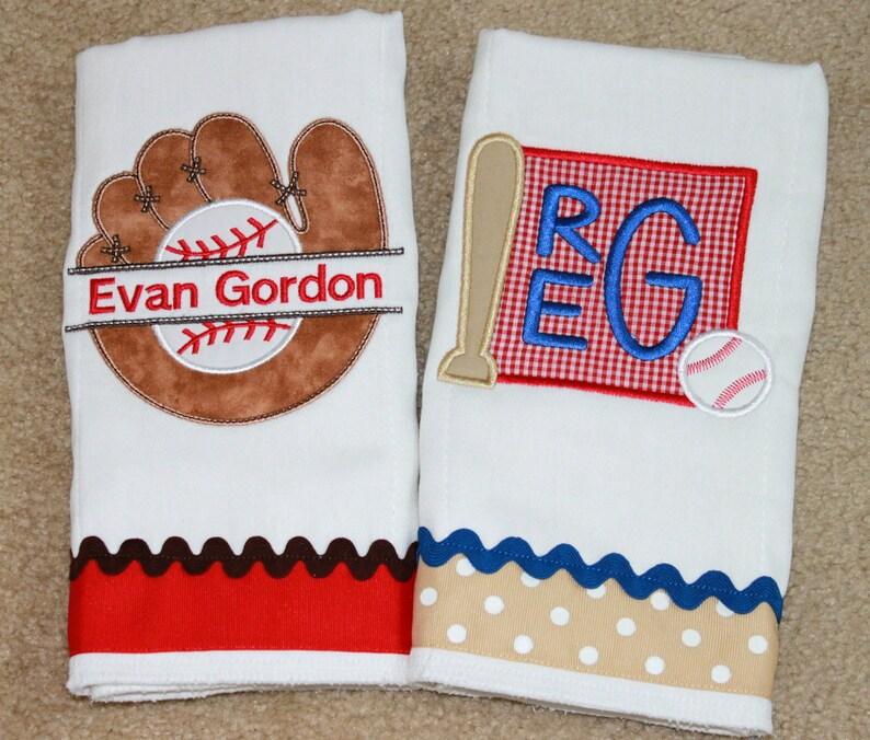 299c6de6913a8 Personalized Baseball Burp Cloth Set - Burp Cloth Set - Boy Burp Cloth Set  - Baseball Burp Cloth - Sports Burp Cloth