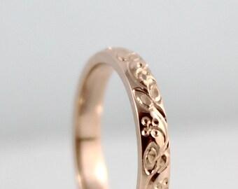 14K Rose Gold Wedding Band - Design Band - Stacking Ring - Pattern Wedding Band - Pink Gold Wedding Band