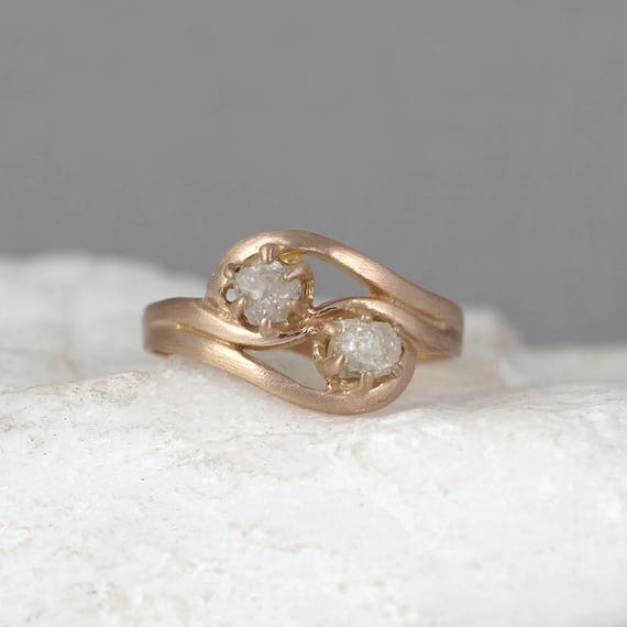 Rose Gold Two Stone Raw Diamond Engagement Ring Wedding Band Etsy