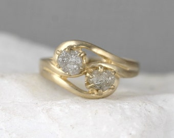 Two Stone Raw Diamond Engagement Ring & Wedding Band Set - 2 Uncut Rough Diamonds - Forever and Always - Diamond Duo Rings - 14K Yellow Gold