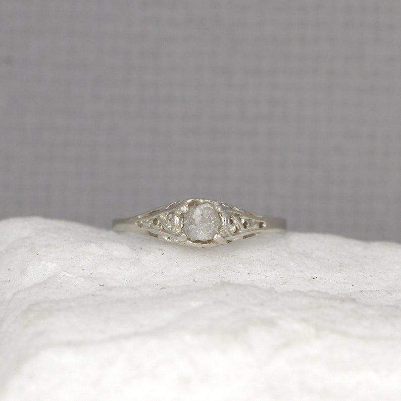 18e66aa34ccad Raw Diamond Engagement Ring - 14K White Gold - Antique Style Rings -  Filigree - April Birthstone - Raw Gem Rings - Rough Uncut Diamond Ring