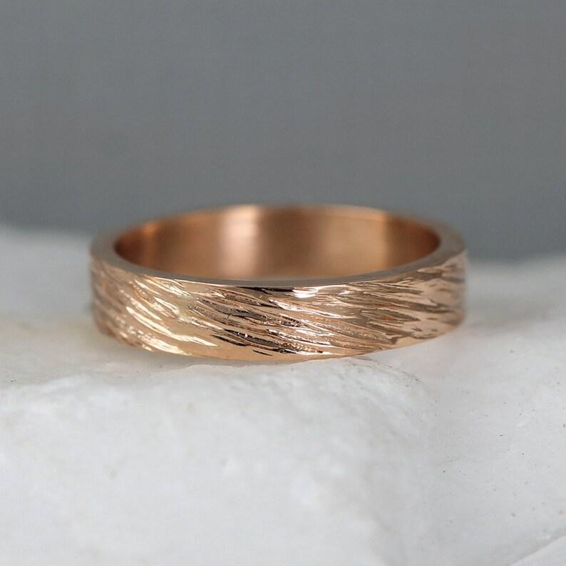 6ac3b74be Rose Gold Men's Wedding Band 14K Rose Pink Gold | Etsy