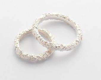 Pure Silver Matching Wedding Bands - Unique Wedding Band Set - Thin wedding bands