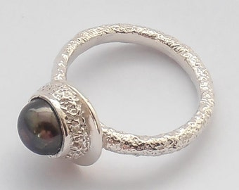 Colored Pearl In Textured Pure Silver Bezel Ring