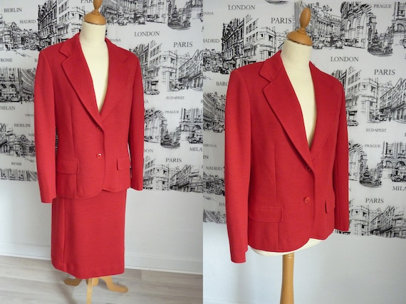 60s MOD classic red suit skirt jacket large 31 wai