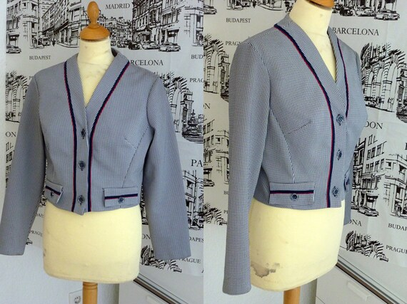 60s mod patriotic office jacket red white blue mad men M