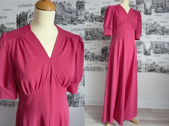 PINK 70s does 30s maxi dress gown M valentine rasp