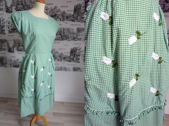 1950s SWIRL housedress faux apron gingham wrap 31w