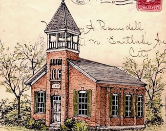 Hughes Schoolhouse - Pen Drawing on Vintage Envelope from 1905