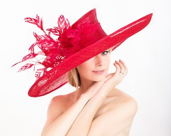 6cf07ff4 Kentucky Derby red hat, Derby hat. Royal Ascot. Designer hat. Large red hat.  Weddings, couture hat